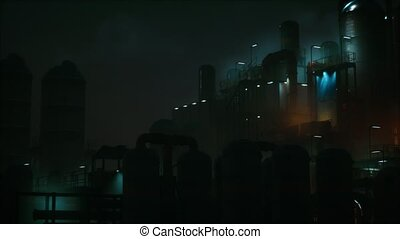 Petrochemical industry factory at night