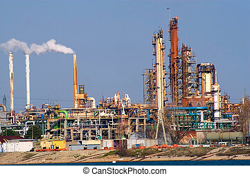 Petrochemical industry on the harbor industrial park of Fos...