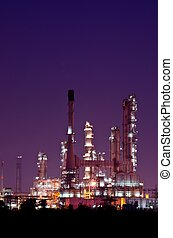 Petrochemical oil refinery plant at night, at Thailand