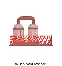 Petrochemical plant, industrial manufactury building vector illustration