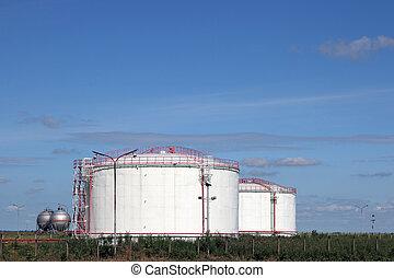 petrochemical plant oil tanks on field