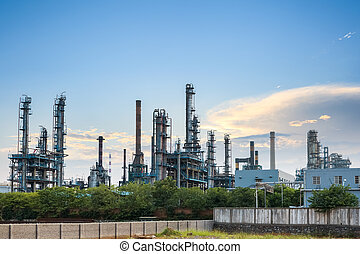 petrochemical plant skyline at dusk