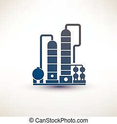petrochemical plant symbol, refinery oil distillation icon