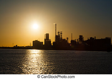 Petrochemical Refinery Climate Change Sunset H - A...