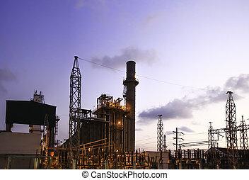 petrochemický, průmyslový, plant.