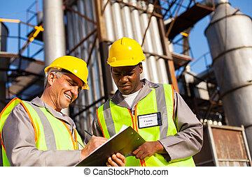 petrochemische stof, collegas, werkende , plant