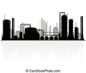 petrochemische stof, fabriekshal, silhouette