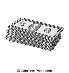 Petrodollars. Oil single icon in monochrome style vector symbol stock illustration web.