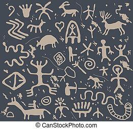 petroglify, wektor, starożytny
