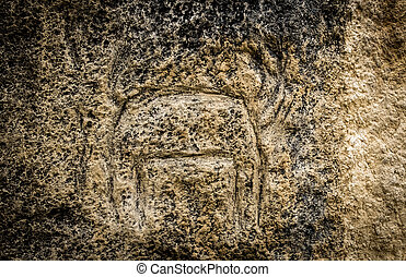 Petroglyph of an animal in Gobustan