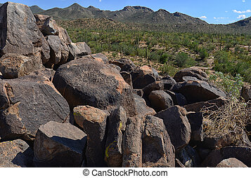 petroglyph pictographs and carvings fron the prehistoric Hohokam people in the american southwest