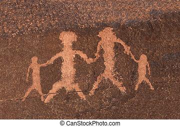Petroglyph Rock Art Family - Ancient petroglyph family...