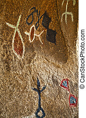 Petroglyphs in a cave near Barker Dam Joshua Tree National ...