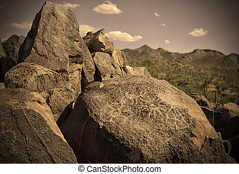 petroglyphs on a rock in arizona