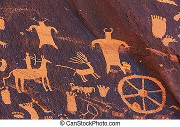Petroglyphs on newspaper rock in Canyonlands national park, ...