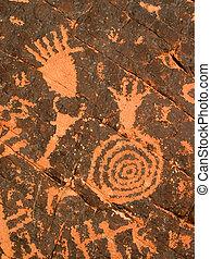 Petroglyphs on Red Rock