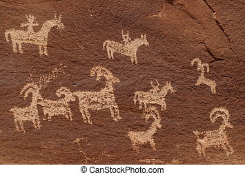 Petroglyphs - Wolf Ranch Petroglyphs from Arches National...