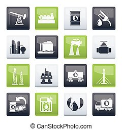 Petrol and oil industry icons over color background