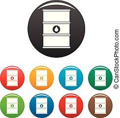 Petrol barrel icons set color
