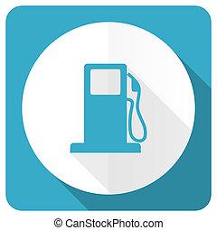 petrol blue flat icon gas station sign