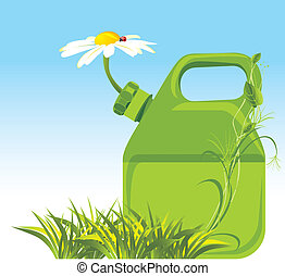 Petrol canister with chamomile. Vector illustration