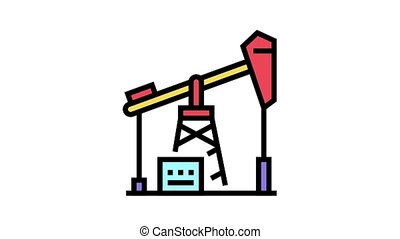 petrol derrick animated color icon. petrol derrick sign. isolated on white background