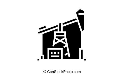 petrol derrick animated glyph icon. petrol derrick sign. isolated on white background