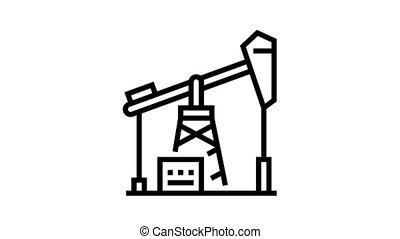 petrol derrick animated black icon. petrol derrick sign. isolated on white background