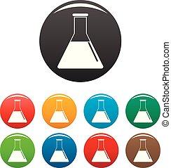 Petrol flask icons set color