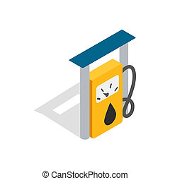 Petrol gas station icon, isometric 3d style