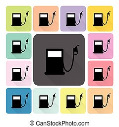 Petrol Icon color set vector illustration