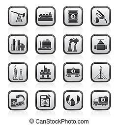petrol, indústria, óleo, ícones