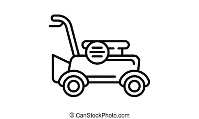 Petrol lawnmower icon animation best on white background for any design
