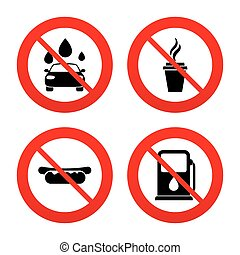 Petrol or Gas station services icons. Car wash. - No, Ban or...