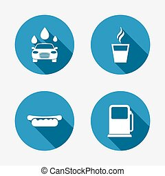 Petrol or Gas station services icons. Car wash. - Petrol or...