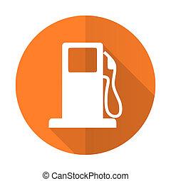 petrol orange flat icon gas station sign
