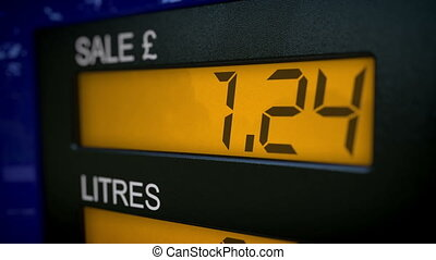 Petrol pump closeup starts at 0 - Closeup of UK petrol pump...