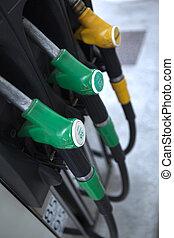 Petrol pumps at a gas station