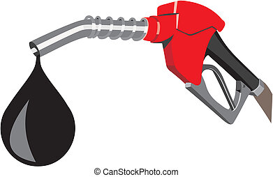Refueling nozzle in red with a drop of fuel