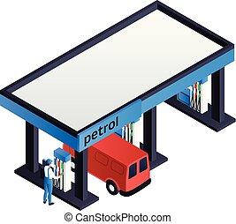 Petrol station icon, isometric style