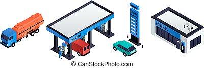 Petrol station icons set, isometric style