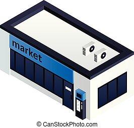 Petrol station market icon, isometric style