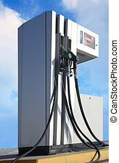 petrol station pump outdoor blue sky