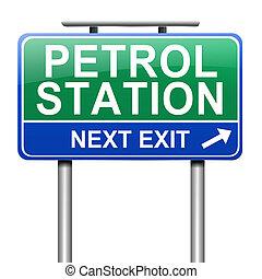 Petrol station sign.