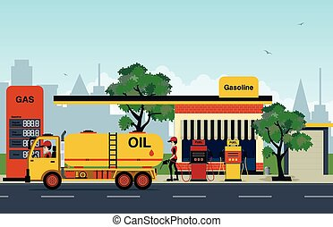 The gas station that employs refueling and trucks.