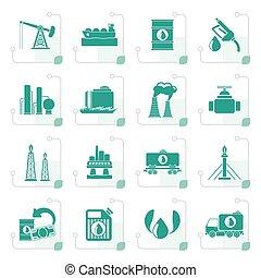 petrol, stylized, indústria, óleo, ícones
