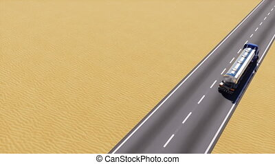Petrol tanker truck on desert road copy space 3D - High...