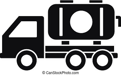 Petrol truck icon, simple style - Petrol truck icon. Simple...