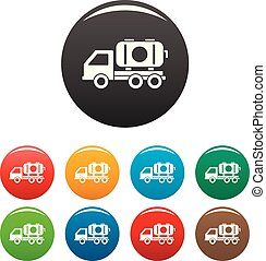 Petrol truck icons set color