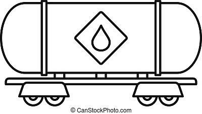 petrol, vagão, ícone, estilo, esboço